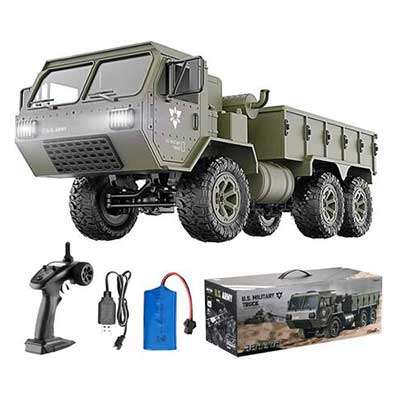 #4. HIBRO RC Car 1:12 Scale 6WD Off-Road RC Military Truck 2.4 GHz High Speed LED Light RTR