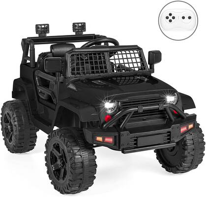 #3. Best Choice 12V Kids Ride-On Truck Car Spring Suspension w/Parent Remote Control (Black)