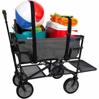 3. MacSports Heavy-Duty Steel Grey Two-Tone Collapsible Outdoor Folding Pull Cart w/Straps