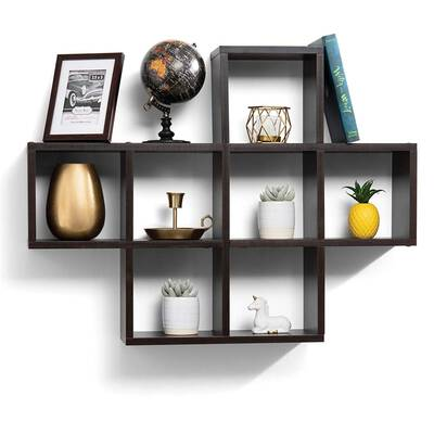 #3. Sagler 10 Sq. Cube Espresso Finish Floating Wood Shelves for Living room & bedroom