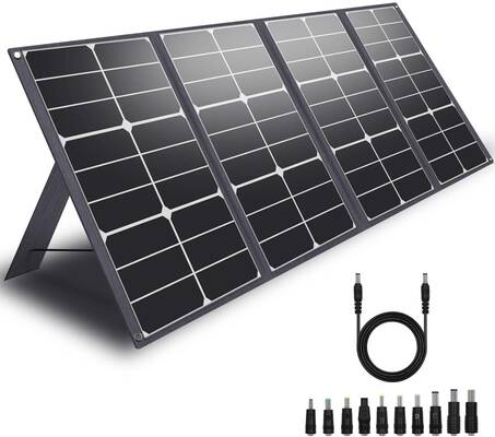 7. CHAFON 80W Foldable Portable Solar Panel Charger SolarBook Quick Charging for Camping & Travel