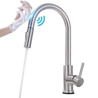 #10. Qomolangma Touch Sensor Brush Nickel Faucets with Pull Down Sprayer