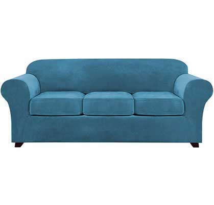 5. PrinceDeco 4-Piece Sofa Covers (Blue)
