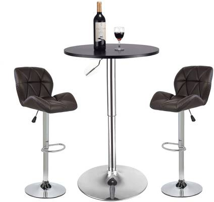 #6. YOURLITEAMZ Adjustable Swivel Up to 360-Degrees Set 3 Round Table 2 Pub Stools