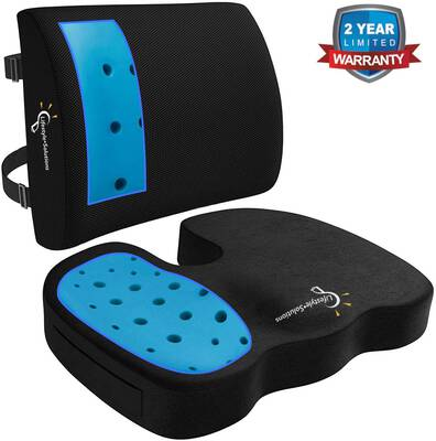 #5. Lifestyle-Solutions Gel-Infused Ventilated Memory Foam Seat Pillow & Lumbar Back Cushion