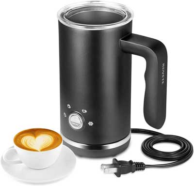 6. NOVETE Milk Frother Large Capacity Hot and Cold Electric Milk Steamer and Frother