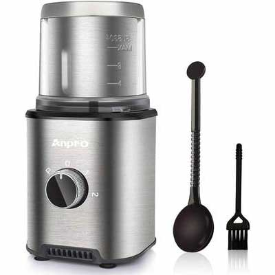 6. Anpro 300W Automatic Coffee Grinder w/100g Capacity Detachable Stainless Steel Container