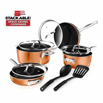 #6. GOTHAM STEEL Cookware Set, 10 Piece, Brown
