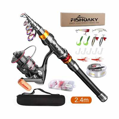 2. FISHOAKY Fishing Rod kit with a Carrier Bag
