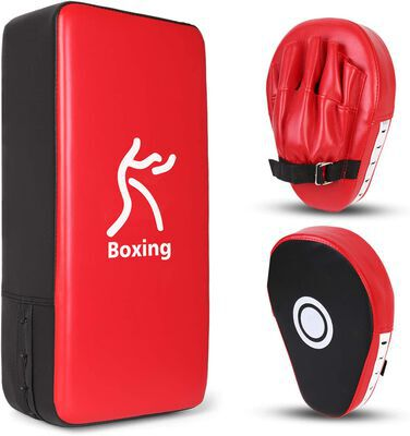 6. ODOLAND 2-in-1 Karate MUAY THAI MMA Kick Pack Set Punching Mitts Kick Pad