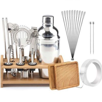 7. COFFLED 28Pcs Professional Stainless Steel Bartender Cocktail Shaker Set w/Exclusive Recipe