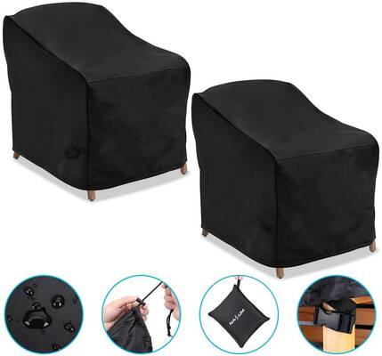 7. NASUM 600D 2-Pack Lounge Heavy Duty Patio Chair Cover Waterproof Outdoor Furniture Covers