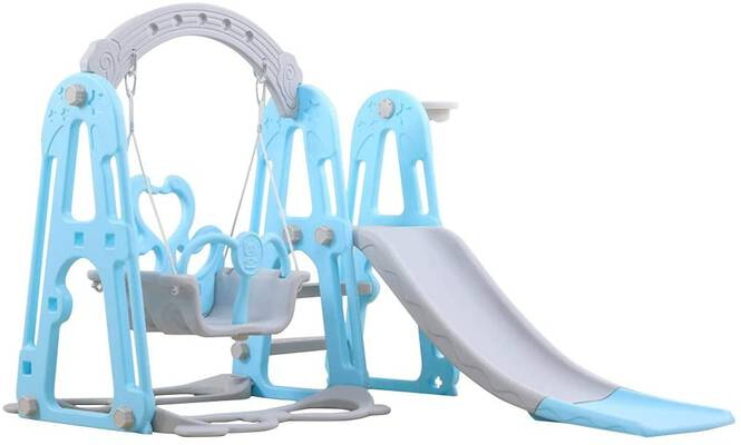 #3. Bieay 3-in-1 Climber and Swing Set Indoor & Backyard Play Slide for Kids Ages 3 & Up (Blue)