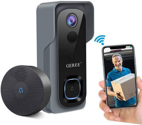 4. GEREE 2-Way Audio Night Vision 32GB Pre-installed 1080P HD Video Doorbell Camera
