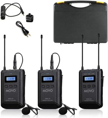3. MOVO 330 Ft Audio Range WMX-20-DUO UHF Wireless Lavalier 48-Channel Microphone System