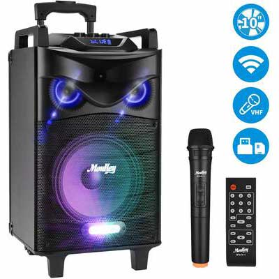 9. Moukey 520W Peak Power 10 Inch Subwoofer DJ Lights Outdoor Portable Wireless Karaoke Machine