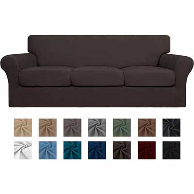 6. Easy-Going 4-Piece Couch Cover for Pets and Kids