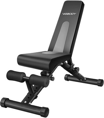 6. Vigbody Fold Up Sit Up Strength Training Adjustable Weight Bench For Intense Workouts