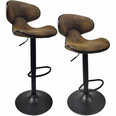 5. YEP HHO Set of 2 Dining Chairs Adjustable Bar Stools w/Back Pub Counter Height (Retro Brown)