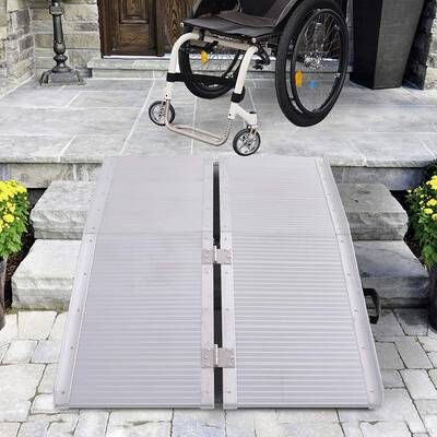 #7. HOMCOM Portable Textured Aluminium Folding Wheelchair