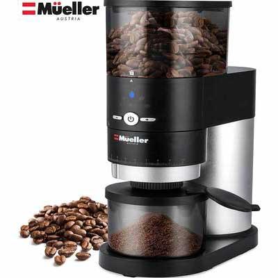 2. Mueller Ultra-Grind 40mm Hardened Gears Detachable Conical Burr Grinder Professional Series
