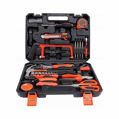 #10. ZSJ 45-Pcs Garage & Home Tool Kit w/Claw Hammer Wrench Pliers for Home Yard Garden Office