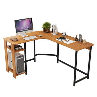 #5. TY ARTS & CULTURE L-Shaped Natural Wood Tone Computer Desk Home Office Furniture (Black)