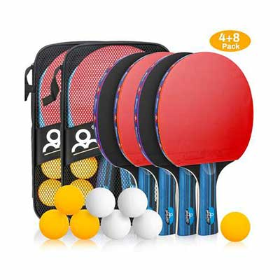 #6. Allnice Ping Pong Set with 2 Carrying Cases