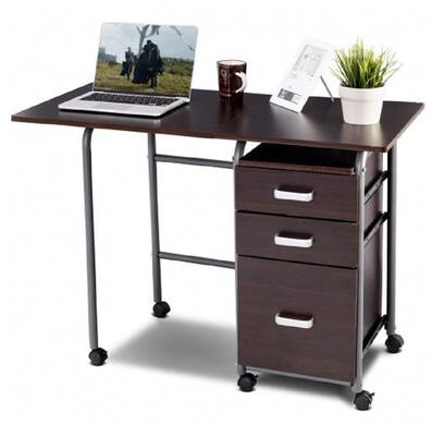 #10. Brazen-X Folding Wheeled Computer Desk with 3 Drawers for Home Office Furniture (Brown)