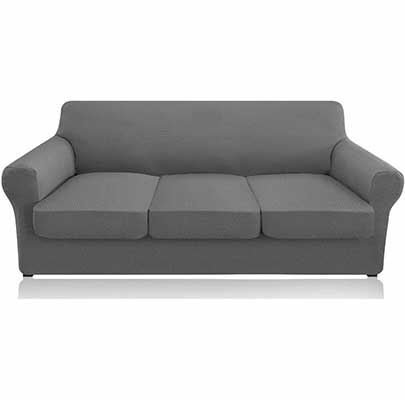 8. Granbest 4-Piece Couch Covers - Machine Washable (Light Gray)