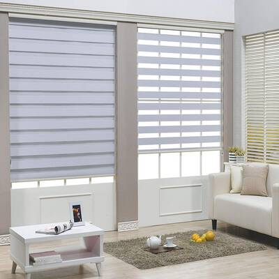 7. HTTMT ET-ZB-W-32 Easy to Install White Cordless Dual Layer Shades Zebra Window Roller Blinds
