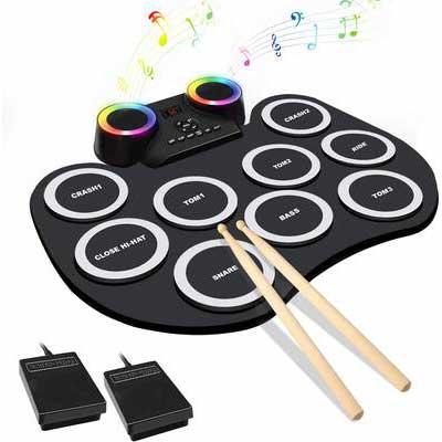 4. MoKasi LED Electric Drum Set for Kids