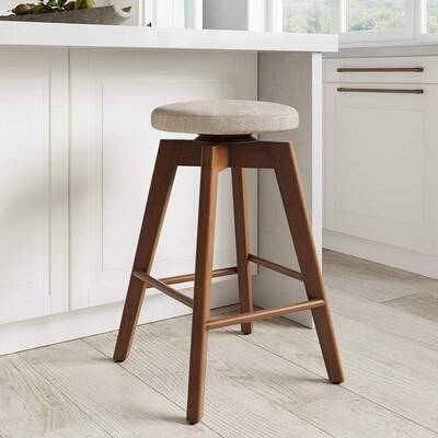 9. Nathan James Amalia Backless Kitchen Counter Height Bar Stool (Antique Coffee/Natural Wheat)