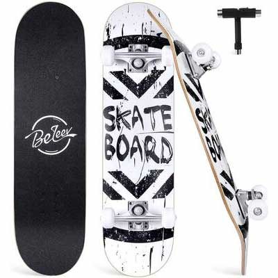 6. BELEEV 7 Layer Deck Concave All-in-One T-Tool Maple Skateboard for Beginners & Adults