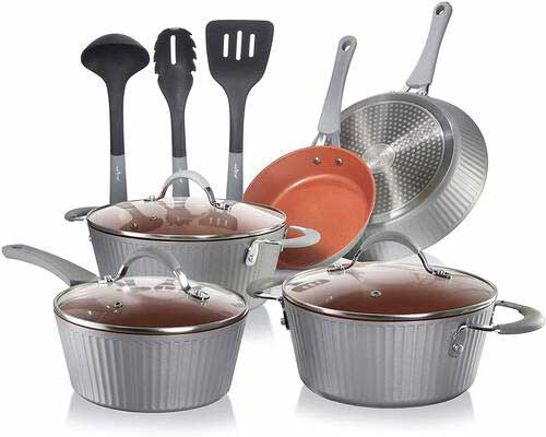 #1. NutriChef NCCW11GL Home Kitchen Ware Pots & Pan Set with
