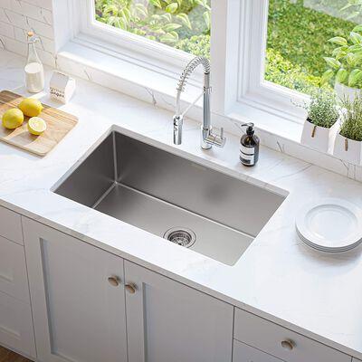 4. MENSARJOR Stainless Steel 16 Gauge 30inch Under Mount Nano-Ceramic Handmade Kitchen Sink