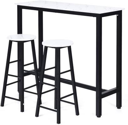 #4. COSTWAY 3-Piece Industrial Counter Dining Table Set w/2 Stools for Kitchen (White)