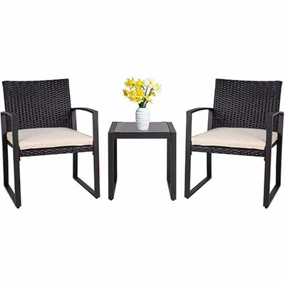 9. Shintenchi 3-Pieces Patio Set with a Glass Coffee, Black
