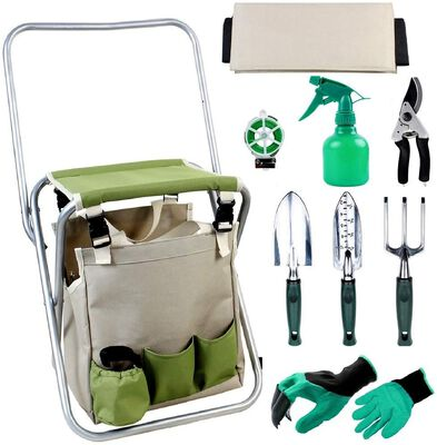 1. INNO STAGE 10-Pcs Detachable Storage Tote Bag Collapsible Gardening Stool Seat Set