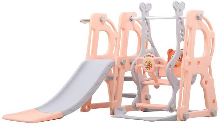 #4. Ziloco 3-in-1 Safe Toddler Climber and Swing Set w/Basketball Hoop for Kids Playset (Orange)