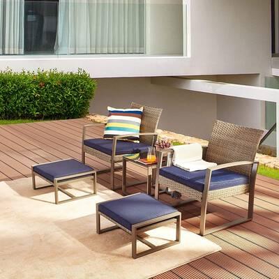 4. LOKATSE HOME 5-Piece Patio Furniture with a Coffee Side Table