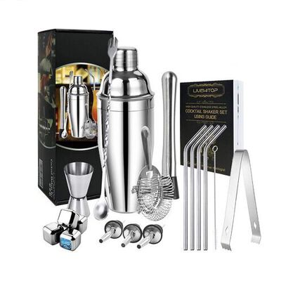 8. LIVETOP 19Pcs Stainless Steel 759ml Boston Bartender Cocktail Shaker Set for Whisky Party