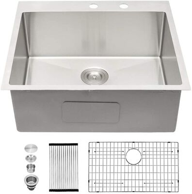 6. SARLAI Stainless Steel 25x22Inch 16 Gauge Single Bowl Sink for Bar RV Prep Drop Sink Kitchen
