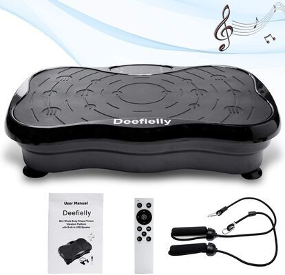 6. Deefielly Mini Vibration Exercise Machine w/ Bluetooth Speaker