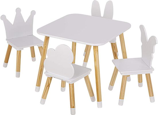 7. Utex White Square 5 Piece Kids Table and Chairs Set with Pine Furniture Finish