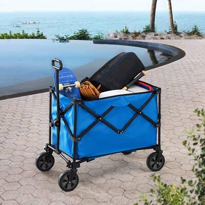 10. Sunjoy Blue A408000900 Adjustable Handle Water-Resistant Fabric Foldable Wagon w/Wheels