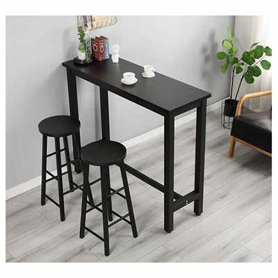 #1. FLASHTK 3-Piece Counter Height Dining Pub Table Set w/Bar Stools for Small Space (Black)