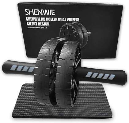9. SHENWIE Ultra-Quiet Home Gym Kit Ab Roller Wheel w/Knee Mat for Men & Women