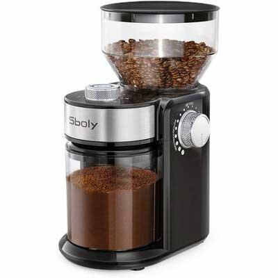 4. Sboly 18 Grind Settings Adjustable Burr Mill Electric Burr Coffee Grinder for Espresso & Drip Coffee