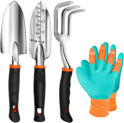 9. TYHJOY 4Pcs Heavy-Duty Cultivator Hand Rake, Gloves Set, Shovel Gardening Tools Set